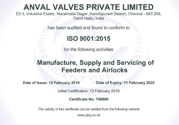 Anval ISO Certificate